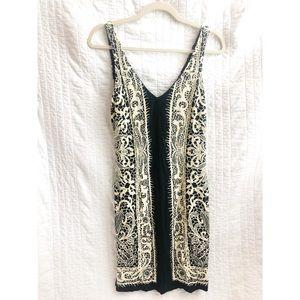 Nicole Miller black lace print knit dress